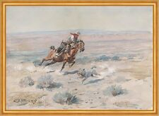 Roping a Wolf Charles M. Russell Cowboy Wolf einfangen Reiter Tiere B A2 01112