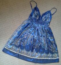 GORGEOUS LADIES BLUE PAISLEY SILKY SUMMER STRAPPY TOP WITH SEQUIN DETAIL SIZE 8