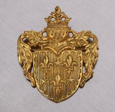 VTG 70s MIRIAM HASKELL SIGNED GOLD COAT OF ARMS HERALDIC CROWN SHIELD BROOCH PIN