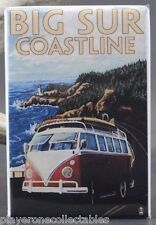 "Big Sur Coastline Travel Poster 2"" X 3"" Fridge Magnet. VW Van California"