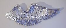 Pair Of Angel Wings With Love Rose Wall Plaque Silver Natural Antique
