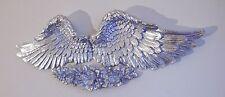 Paire d'ailes d'ange avec amour rose plaque murale argent naturel antique
