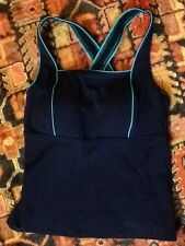 LANDS' END Tankini Top Sz 6 Swimsuit Top NAVY blue Teal PIPING