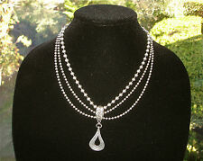 Silpada 925 Sterling Silver 3 Strand Bead Chain Cascading Necklace Pendant N1900