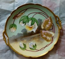 J Barid Limoges signed charger plate handpainted flowers gold edge 12""