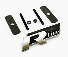 VW R Linea GRILL CAR BADGE EMBLEMA Nero POLO PASSAT GOLF TIGUAN TOUAREG griglia