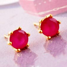 Fashion RED RUBY  PRONG SET 18K Yellow Gold Filled Stud Earrings For Ladie girl