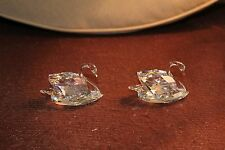 "2 SWAROVSKI CRYSTAL 3"" SWAN FIGURINES SIGNED ON BOTTOM"