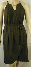 City Chic Sexy Khaki Strappy Racer Hi-Lo Wrap Suede Dress Size XS 14 BNWOT CC498