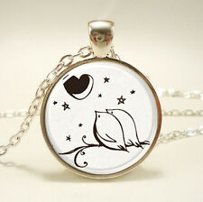 Vintage Love Bird Cabochon Tibetan silver Glass Chain Pendant Necklace #F16
