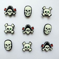 Popular Pirate Skull Shoe Charms for Bracelets/Bands/Croc/Jibbitz Gifts 9pcs
