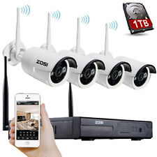ZOSI 4CH Wireless 960P NVR HD 1.3MP Camera Outdoor Wifi Security System 1TB HDD