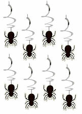 8 x Halloween spiral hanging spider swirls decorations CHEAP Value Pack FREE P&P
