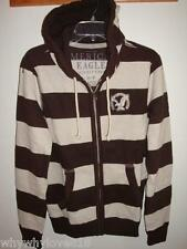 NWT Men American Eagle AE STRIPED FULL-ZIP HOODIE BROWN XL