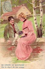 CPA - Illustrateur - Couple - Message d'Amour - Gaufrée.