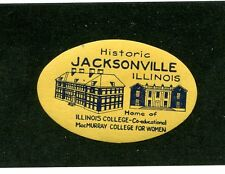 Vintage Poster Stamp Label Historic JACKSONVILLE IL MacMurray College for women