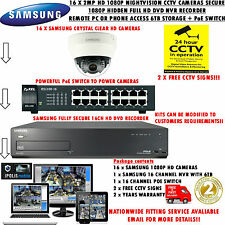 SAMSUNG 16 X 2MP HD IP NETWORK CAMERAS & SECURE1080P 6TB HIDDEN NVR + POE SWITCH