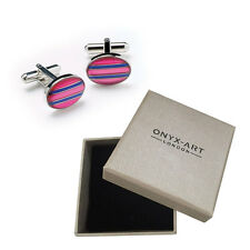 Mens Oval Pink & Blue Stripe Cufflinks & Gift Box By Onyx Art