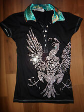 PARASUCO DESIGNER BLACK / AQUA SHIRT WITH CRYSTAL EAGLE SIZE S