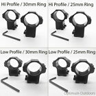 2 x Rifle Scope Mount Rings 11mm Dovetail Rail 30mm / 25mm Ring Hi / Low Profile