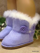 "LAVENDER Fur-Trim EWE Button DOLL BOOTS SHOES fit 18"" AMERICAN GIRL Doll Clothes"