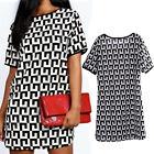 Boho Mode Damen Striped Long Top Blusen Sommer Kurzarm Mini T Shirt Kleid S-2XL