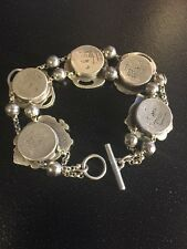 t. foree luggage tag bracelet charms Vintage antique sterling silver 925