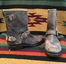 FRYE Gray Distressed Leather MOTO Ankle Boots Strap Buckle 5.5M MEXICO NEW!!!