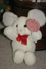 """Vintage 1987 Plush SWEET TOOTH White Mouse Red Stripe Lollipop 22"""" Stuffed  #Z1"""