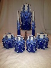 NEW HAND CARVED 7PC WEDDING SET UNITY CANDLE SKY BLUE W/TAPERS