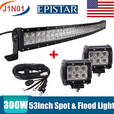 "52""IN 300W LED LIGHT BAR CURVED EPISTAR SPOT&FLOOD COMBO OFFROAD LAMP 18W Wiring"