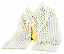 Golden Valley Scarf.Handknitted in the UK. Cotton/Lurex Yarn. White/silver.  New