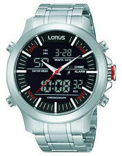 NEW RW601AX9 Lorus Gents Dual Display Chronograph Stainless Steel Watch