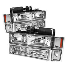 94-98 Chevy C/K Pickup Truck Tahoe Suburban Headlights Bumper Corner Lights Set