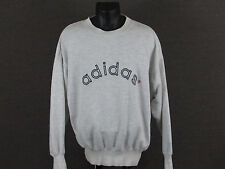 Men's Vintage ADIDAS LS Gray Sweatshirt + Embroidered Spellout 90s - L
