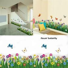Butterfly Flower Grass Wall Border Decal Removable Window Sticker Home Decor