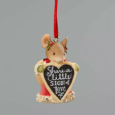 Heart of Christmas*MOUSE with SIGN ORNAMENT*New 2016*NIB*Karen Hahn*4052795