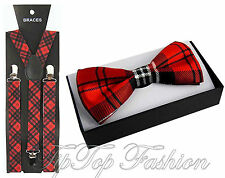 New Tartan Braces + Bow Tie Bowtie Dickie Bow Scottish Fancy Dress 70s Punk Nerd