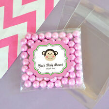 24 Pink Monkey Personalized Clear Candy Bags Baby Shower Birthday Party Favors