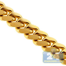 Solid 10K Yellow Gold Miami Cuban Curb Link Mens Chain 3.5 mm 24 Inches