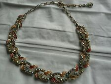 Vintage necklace set with aurora borialis faceted stones and enameled leaves