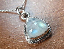 Small Moonstone Triangle Pendant 925 Sterling Silver with Rope Style Accents