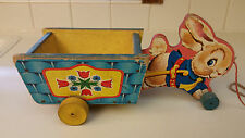 Vintage Fisher Price Pull Toy Peter Bunny/Rabbit Cart No 304 Easter Wagon