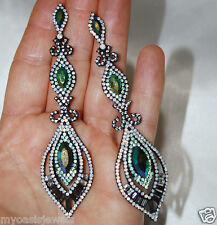 4 Inch Long Rhinestone Crystal Chandelier Earrings Drag Queen Pageant Prom