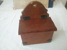 Small unusual wood hinge top box shelf with hole to hang on wall - Free UK P&P