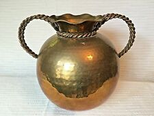 """Large 10.5"""" Hammered Brass Flower Pot Vase Braided Brass and Copper Handles"""