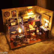 Dollhouse Miniature DIY Kit w/ Cover For Young Boy Child Children Bedroom Room