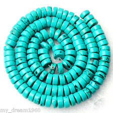 """Natural 8mm GREEN TURQUOISE Disk Rondelle Gemstone Loose Beads Strand 15"""""""