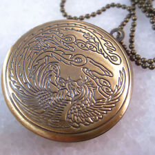 Chinese Phoenix Round Brass Picture Locket Pendant Necklace