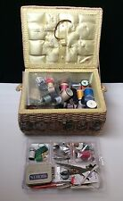 Vintage Sewing Basket with Notions Snaps Pins Needles Thread Buttons Ripper Etc